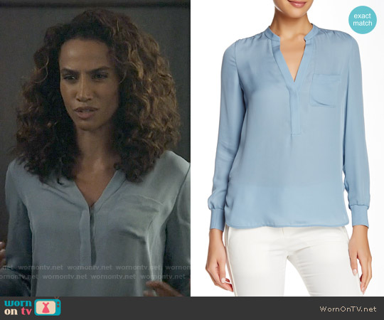 Vince Rib Trim Half Placket Silk Blouse in Slate Blue worn by Nina Lisandrello on Beauty & the Beast