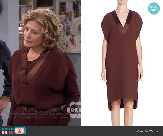 Vince Satin Trimmed V-neck Shift Dress worn by Nancy Travis on Last Man Standing