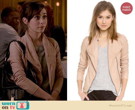 Vince Scuba Leather Jacket in Pale Blush worn by Cristin Milioti on A to Z