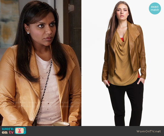 Vince Scuba Leather Jacket worn by Mindy Lahiri on The Mindy Project