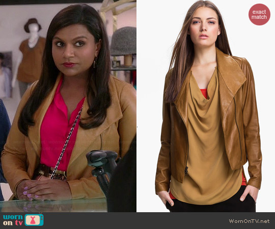 Vince Scuba Leather Jacket worn by Mindy Kaling on The Mindy Project