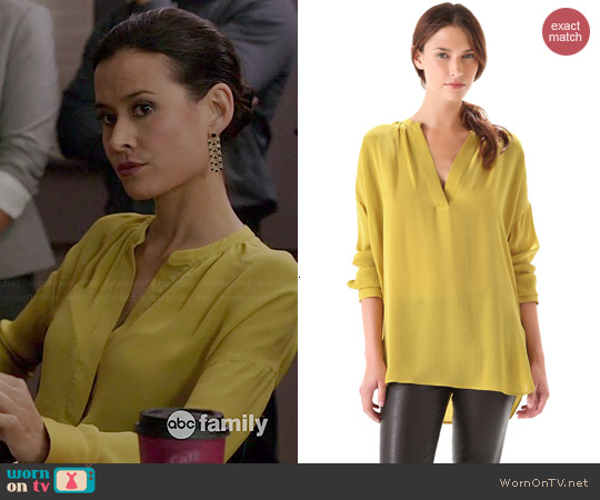 Vince Shirred Neck Half Placket Blouse worn by Shi Ne Nielson on Chasing Life