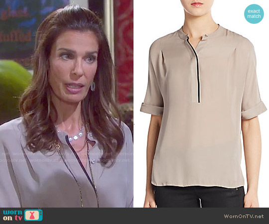Vince Silk Contrast Placket Blouse worn by Kristian Alfonso on Days of our Lives