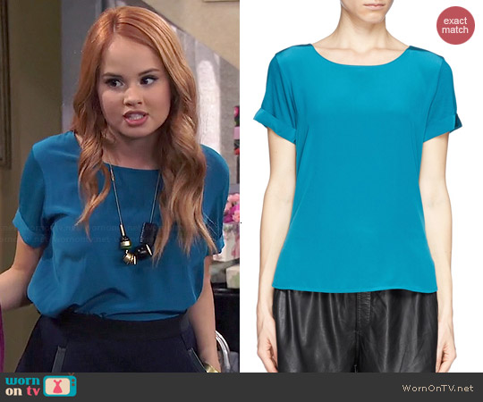 Vince Silk Front Jersey Tshirt worn by Debby Ryan on Jessie