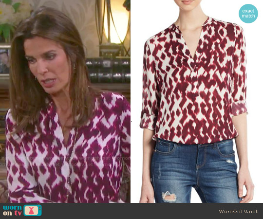 Vince Silk Ikat Print Blouse worn by Kristian Alfonso on Days of our Lives