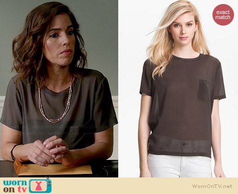 Vince Silk Pocket Tee in Forge worn by Ana Ortiz on Devious Maids