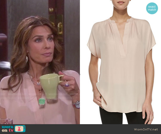 Vince Silk Popover Blouse worn by Kristian Alfonso on Days of our Lives