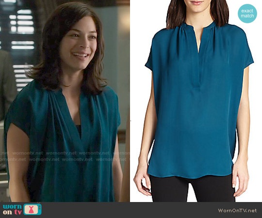 Vince Silk Popover Top in Petroleum worn by Kristin Kreuk on Beauty & the Beast