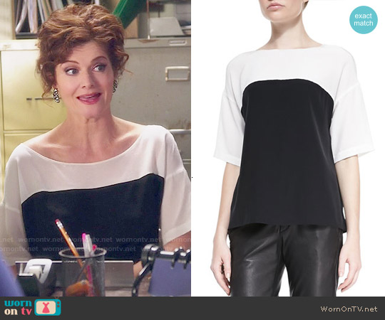 Vince Silk Short Sleeve Colorblock Blouse worn by Rebecca Wisocky on Devious Maids