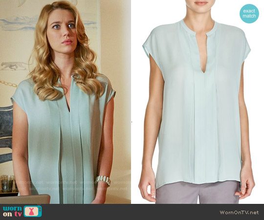 Vince Pleated Silk Top in Santorini Blue worn by Yael Grobglas on Jane the Virgin
