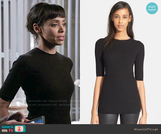 Vince Skinny Rib Crewneck Sweater worn by Tamara Taylor on Bones