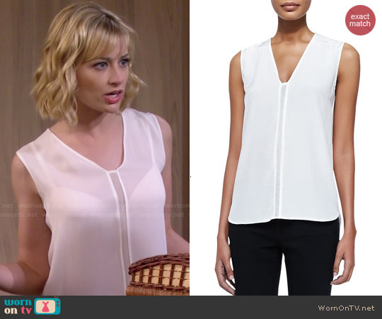 Vince Sleeveless Shell w/ Mesh Insert worn by Beth Behrs on 2 Broke Girls