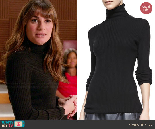 Vince Slim Ribbed Knit Turtleneck worn by Rachel Berry on Glee