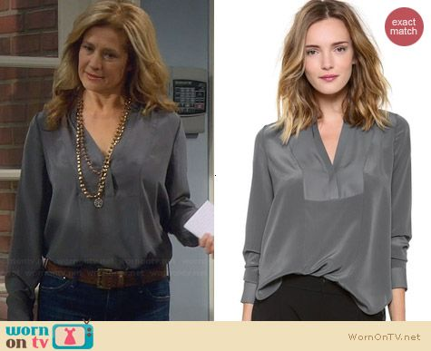 Vince Speed Stitch Tuxedo Blouse worn by Nancy Travis on Last Man Standing