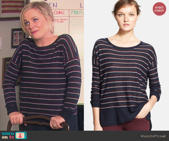 Vince  Stripe Wool Blend Sweater in Coastal Combo worn by Amy Poehler on Parks & Recreation