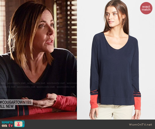 Vince Stripe Cuff Sweater worn by Christa Miller on Cougar Town