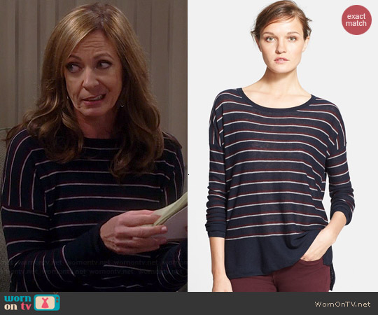 Vince Stripe Wool Blend Sweater worn by Allison Janney on Mom