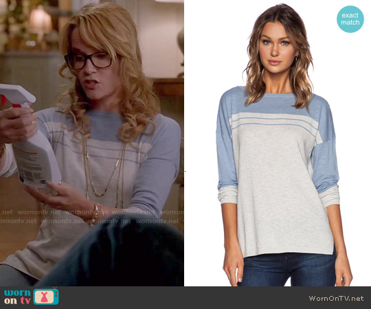 Vince Striped Yoke Sweater worn by Lea Thompson on Switched at Birth