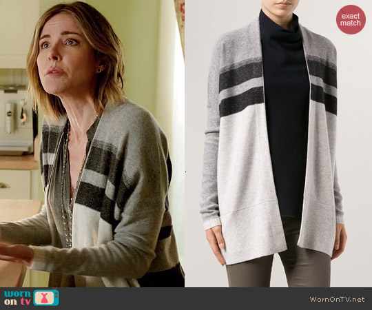 Vince Striped Cardigan worn by Christa Miller on Cougar Town
