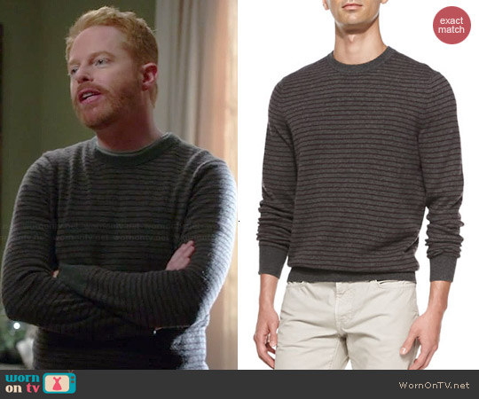 Vince Striped Crewneck Sweater worn by Jessie Tyler Ferguson on Modern Family