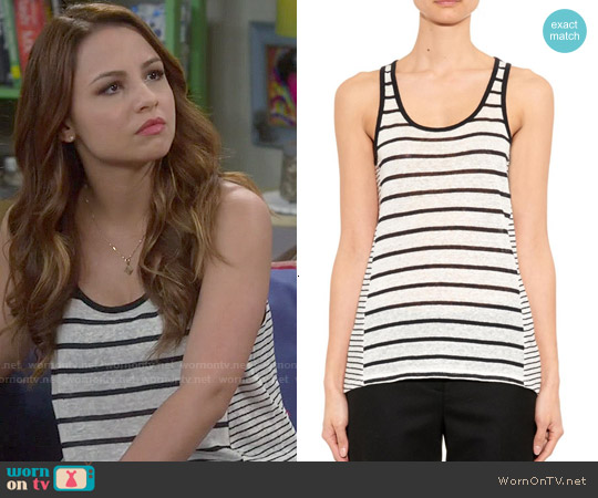 Vince Striped Linen Tank Top worn by Aimee Carrero on Young & Hungry