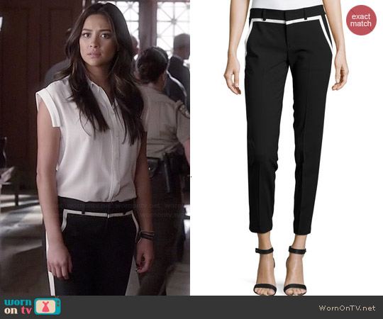 Vince Striped-Trim Pants worn by Shay Mitchell on PLL