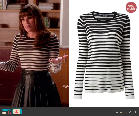 Vince Striped Sweater worn by Lea Michele on Glee