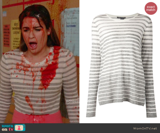 Vince Striped Sweater worn by Rachel Berry on Glee