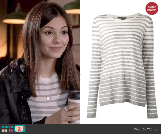 Vince Striped Sweater worn by Victoria Justice on Eye Candy