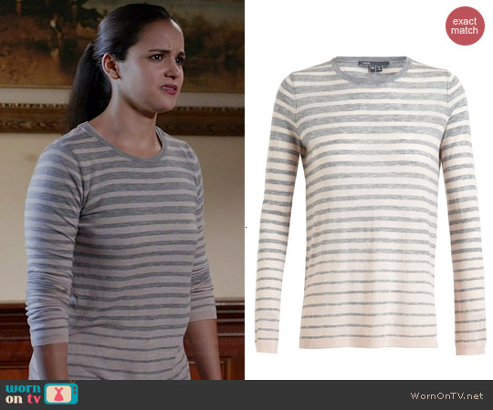Vince Striped Top worn by Melissa Fumero on Brooklyn 99