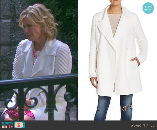 Vince Sweater-Sleeve Wool Coat by worn by Mary Beth Evans on Days of our Lives