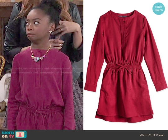 Vince Girls'  Tencel® Drawstring Shirtdress worn by Skai Jackson on Jessie