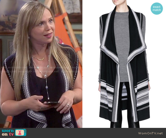 Vince Textured Stitch Drape Front Sleeveless Cardigan worn by Amanda Fuller on Last Man Standing