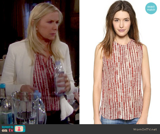 Vince Tribal Dot Silk Blouse worn by Brooke Logan on The Bold & the Beautiful