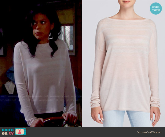 Vince Variegated Striped Sweater in New Buff / Heather Cloud worn by Karla Mosley on The Bold & the Beautiful