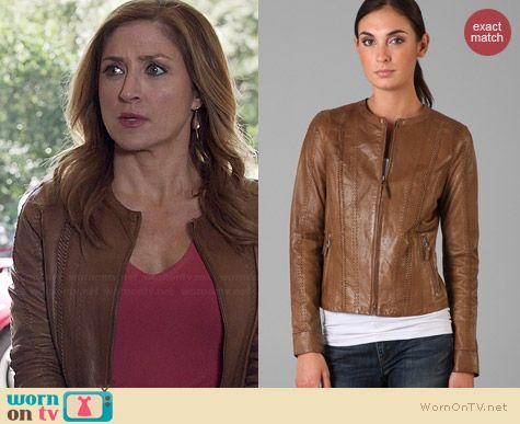 Vince Vintage Leather Jacket worn by Sasha Alexander on Rizzoli & Isles