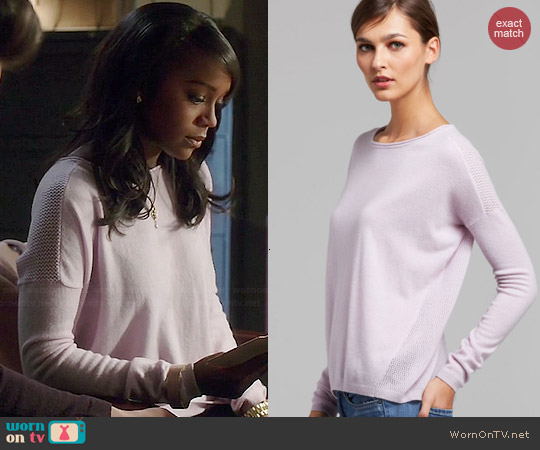 Vince Wisteria Cashmere Sweater worn by Aja Naomi King on HTGAWM
