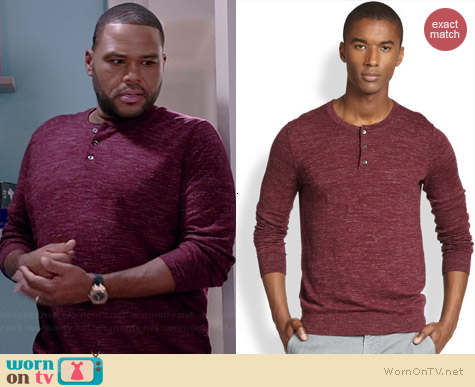 Vince Wool/Linen Slub Henley in Raspberry worn by Anthony Anderson on Black-ish