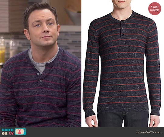 Vince Wool & Linen Striped Slub Henley worn by Jonathan Sadowski on Young & Hungry