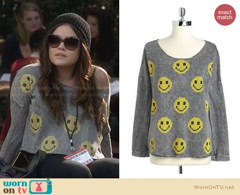 Vintage Havana Slashed Back Smiley Sweatshirt worn by Lucy Hale on PLL