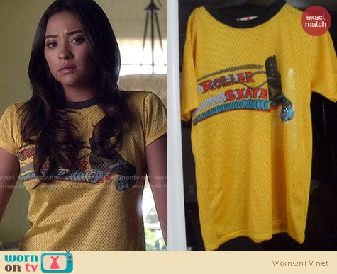 Vintage Rollerskate Mesh Top worn by Shay Mitchell on PLL