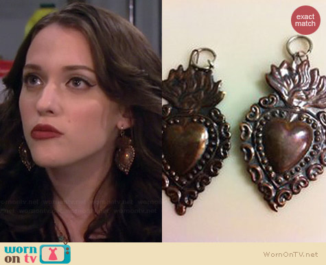 Vintage Sacred Heart Earrings worn by Kat Dennings on 2 Broke Girls