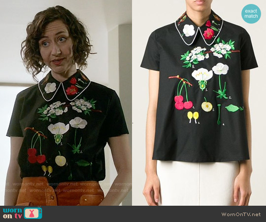 Vivetta Bosso Flower Embroidered Top worn by Kristen Schaal on Last Man On Earth