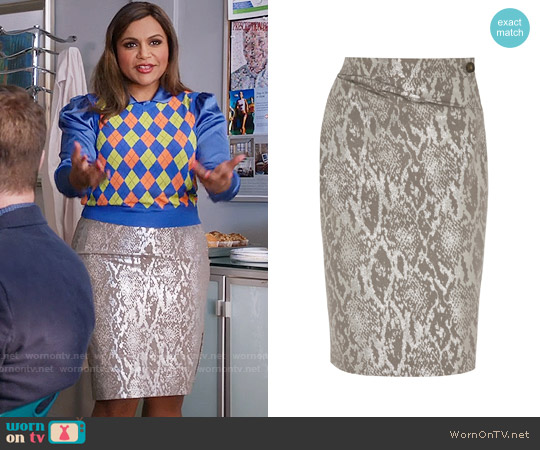 Vivienne Westwood Anglomania Isolation Metallic Snake-jacquard Skirt worn by Mindy Lahiri on The Mindy Project