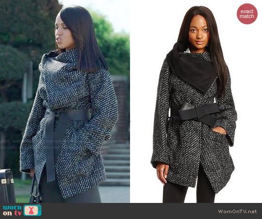 Vivienne Westwood Anglomania 'Talik' Wool-Blend Tweed Belted Coat worn by Kerry Washington on Scandal