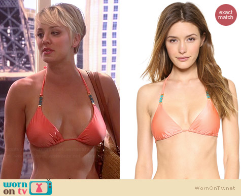 Vix Peach Triangle Bikini worn by Kaley Cuoco on The Big Bang Theory
