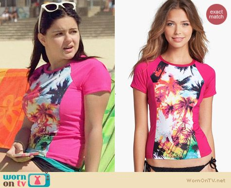 W Swimwear 'Pink Palms' Rashguard worn by Aerial Winter on Modern Family