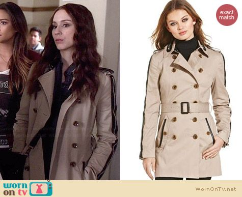 W118 by Walter Baker Ollie Trench Coat worn by Troian Bellisario on PLL