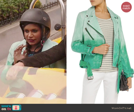 W118 by Walter Baker Evan Degrade Leather Biker Jacket worn by Mindy Kaling on The Mindy Project