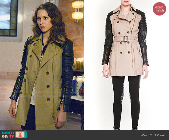 W118 Walter Baker Keanu leather trench coat worn by Troian Bellisario on PLL